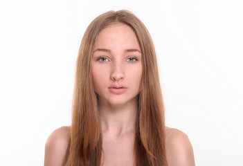 young girl with long hair on a white background