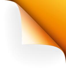 Papier Ecke oben rechts orange