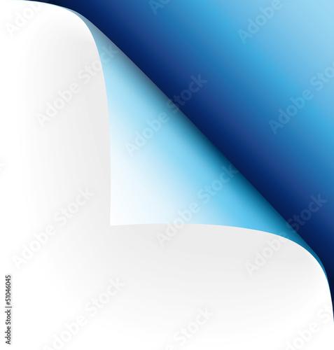 Papier Ecke blau oben rechts