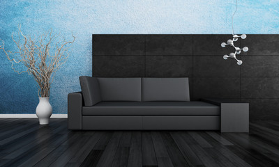Modern couch in front of wall   3d interior