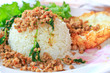 Fried pork with sweet basil and whit basi, Thai food