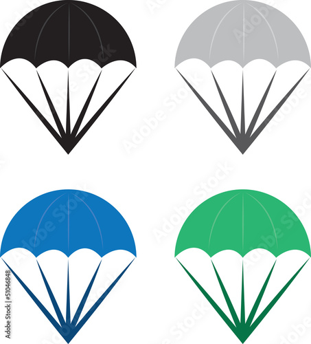 Isolated parachutes in various colors