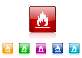 flames vector glossy web icon set