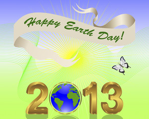 Earth Day background with gold 3-D 2013.