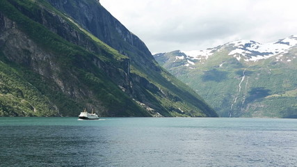View of the Norwegian Geirangerfjord from the ferry