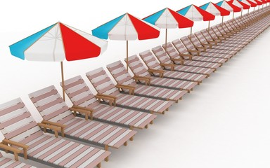 row from many deck-chairs with parasols on a white