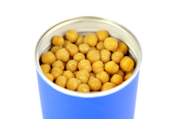 chickpeas can on white