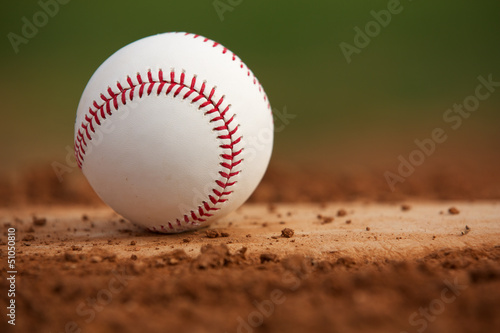 Close Up Baseball on the Pitchers Mound