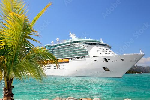 Leinwandbild Motiv Luxury Cruise Ship Sailing from Port