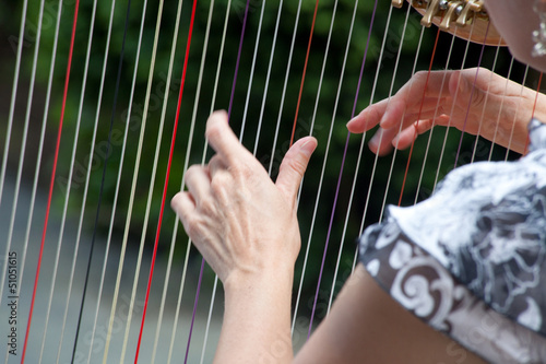 Fingers playing the harp