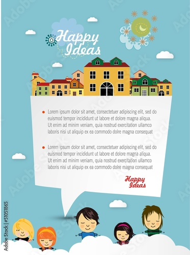 Happy children with speech bubble vector background
