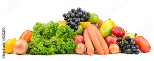 set fruit and vegetables isolated on white background