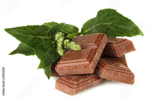 Pieces of chocolate and mint isolated on white