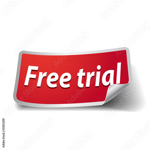 100% free and free trial label vector