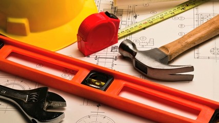 Various construction and DIY home improvement tools