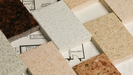 Selection of granite stone counter top and floor tiles samples