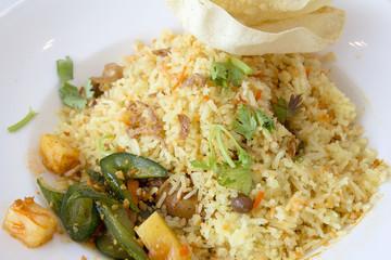 Indian Nasi Briyani Rice Dish Closeup