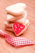 homemade sweet heart cookies with ribbon