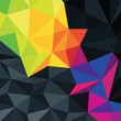 Abstract triangles background with colorful accented area, vecto