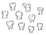 Set of health and illness teeth