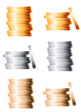 Fototapety Bronze, silver and gold stacks of coins