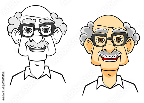 Cartoon senior man