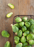 Brussels sprouts on wooden table