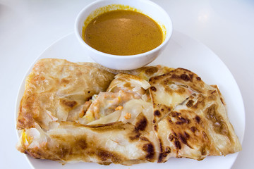 Indian Roti Prata with Curry Sauce