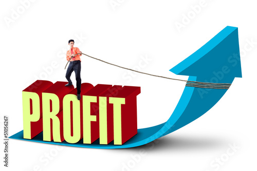 Businessman pull profit sales up
