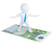 3d white man flying on the euro bill