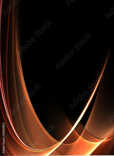 Awesome abstract gold waves on black background