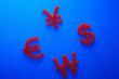Red Euro Dollar won and Yen