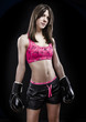 Boxing woman, pretty young boxing  standing and defending by han