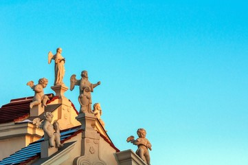 Roof of a church with christian figures