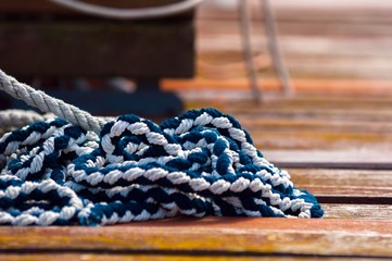 Colorful rope on sailing boat