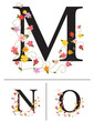 Decorative super caps letters M, N, O,