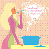 Pretty girl prepares food - a picture with space for your text