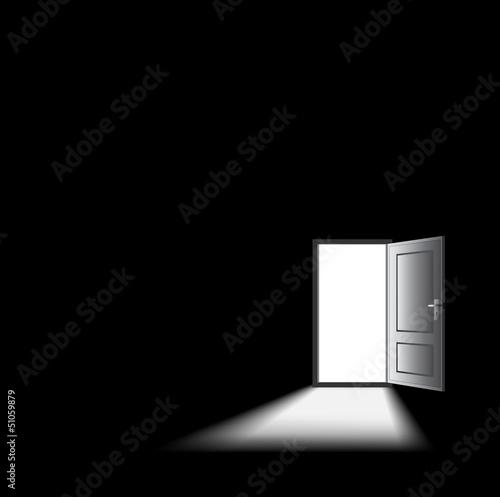 open door in dark room