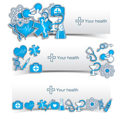 Medical banners set with icons