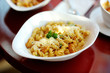 Delicious pasta on white plate