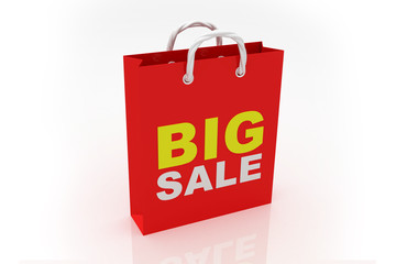 Shopping bags with the word big sale