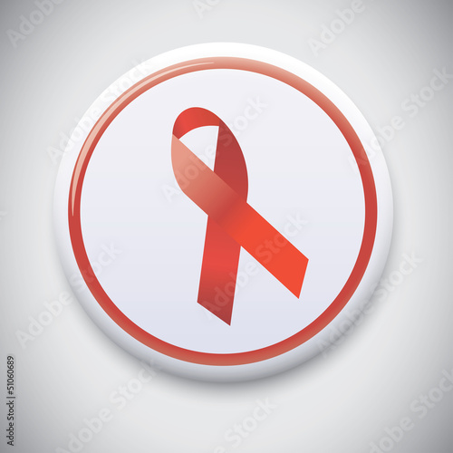 HIV Aids Red Ribbon - Vector Button Badge