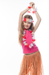 Small and beautiful girl in Hawaiian dress