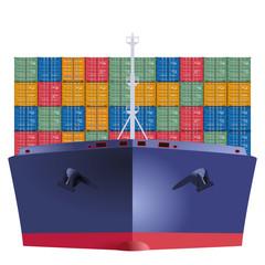 Containerschiff von vorn