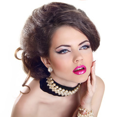 Glamourous closeup female portrait. Fashion evening elegance eye