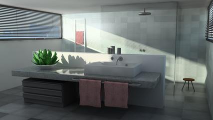 Badezimmer mit Sonne - 3D Bild