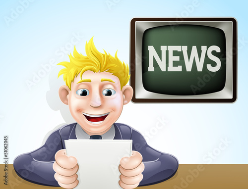 News reader cartoon