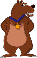 brown bear cartoon smiling
