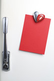 Blank red note on fifties fridge-door, heart shaped-magnet, copy