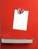 Blank note on red fifties fridge-door, heart shaped-magnet, copy